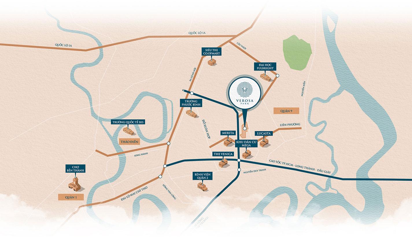 Sơ đồ vị trí dự án Verosa Park Khang Điền quận 9