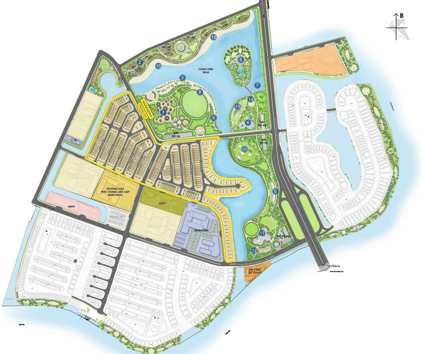 The Manhattan nằm tại vị trí trung tâm khu đô thị Vinhomes Grand Park liền kề trung tâm thương mại Vincom Mega Mall Grand Park và được ôm trọn bởi công viên 36 ha.