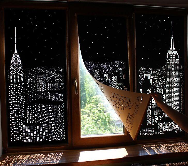 Tấm rèm cửa sổ làm cho ngôi nhà của bạn trở nên độc đáo và phong cách, ở đây là một thiết kế mang đến cho bạn một cái nhìn về đêm ở New York.