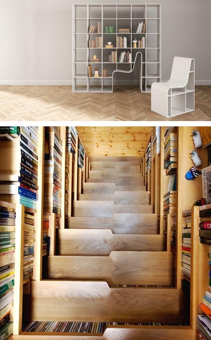 Một thư viện sách được thiết kế độc đáo vừa tiết kiệm không gian, thậm chí có luôn chỗ ngồi đọc sách.